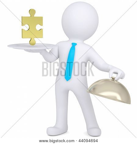 3d man holding plate with gold puzzle