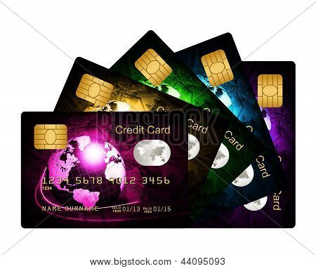Fan Of Credit Cards Over White Background