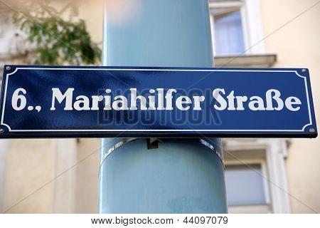 Street Sign At Mariahilferstrase In Vienna, Austria