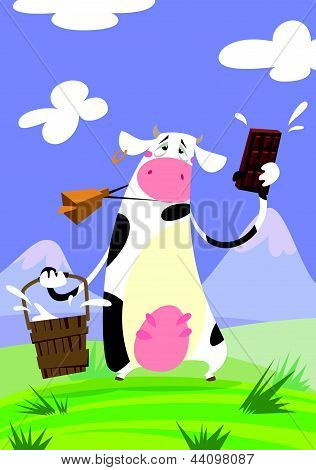 Cow Presenting A Chocolate Bar