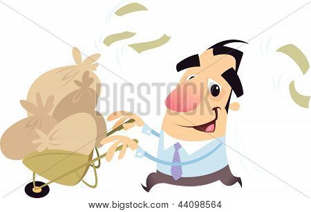 Man Running Carrying A Trolley Full Of Money