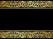 picture of brocade  - Floral border with gilded elements in retro style for embellishment design - JPG