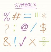image of hashtag  - Hand drawn common symbols such as equals tick cross and hashtag - JPG