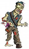 stock photo of undead  - Cartoon illustration of a ghoulish undead green zombie in tattered clothing with big eye  - JPG