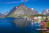 stock photo of reining  - Scenic town of Reine by the fjord on Lofoten islands in Norway on sunny summer day - JPG