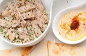 pic of tabouleh  - fresh traditional arab chicken taboulii couscous with hummus - JPG