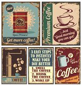 stock photo of brew  - Vintage coffee posters and retro coffee metal signs - JPG