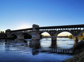 pic of carthusian  - Ponte Coperto bridge in Pavia Lombardy Italy - JPG