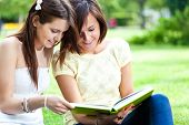 stock photo of senior class  - Two beautiful students reading a book on the grass - JPG