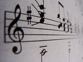 stock photo of treble clef  - A macro shot of some sheet music.