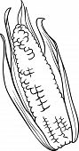 Corn On The Cob Cartoon For Coloring Book