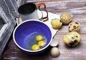 stock photo of flour sifter  - Bowl with eggs - JPG