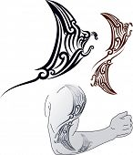 Maori styled tattoo pattern in shape of manta ray profile. Fit for shoulder and forearm. Raster imag