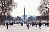 Obelisk And Triumphal Arch From Tuileries Garden, Paris