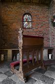 image of pews  - small wooden pew in an old chapel - JPG