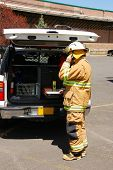 stock photo of klamath  - Command operations at a Klamath Falls Shoot for Haz Mat Outreach Video - JPG
