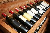picture of bordeaux  - Closeup shot of wineshelf - JPG