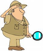 stock photo of safari hat  - This illustration depicts a man in a safari hat and vest holding a magnifying glass - JPG