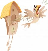 stock photo of angry bird  - A cartoon piessed off cuckoo jumping out of the old clock announcing time - JPG
