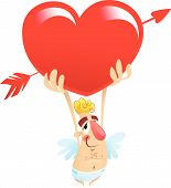 stock photo of ero  - A cartoon funny cupid holding a huge heart over his head - JPG