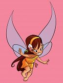 pic of undine  - A happy tiny cute fairy flying in a pink background - JPG
