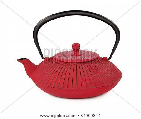 Traditional Japanese teapot isolated on white background