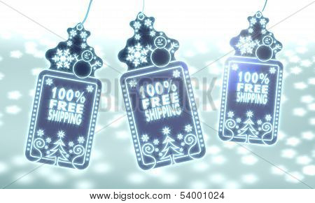 Three Christmas Labels With 100 Percent Freeshipping Sign