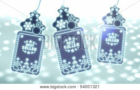 Three Christmas Labels With Best Seller Sticker