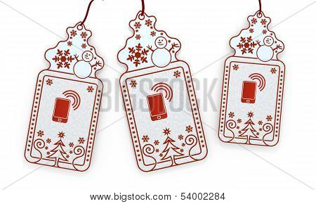 Isolated Christmas Labels With Smart Phone Sticker