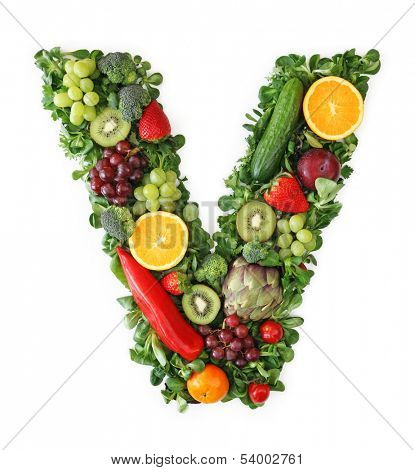 Fruit and vegetable alphabet - letter V