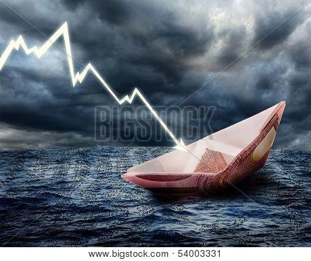 Sinking euro ship. Crisis concept