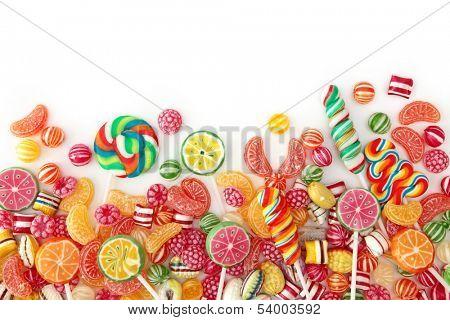 Mixed colorful fruit bonbon close up