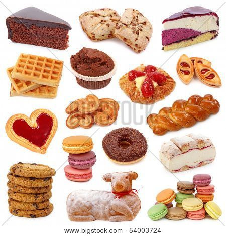 Sweet cakes collection isolated on white background