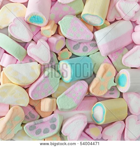 Colorful marshmallow close up