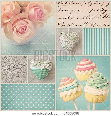 Vintage collage with roses and old letters