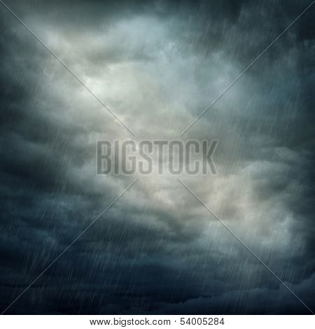Dark stormy clouds and rain
