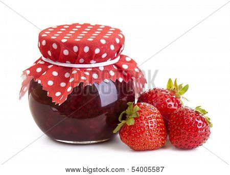 Strawberry jam and fresh berries isolated on white