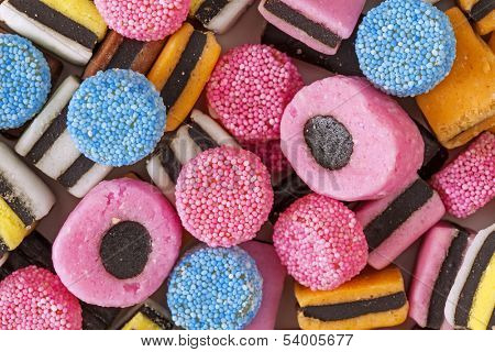 Liquorice colorful sweets close up