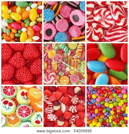 Collage of photos with different sweets