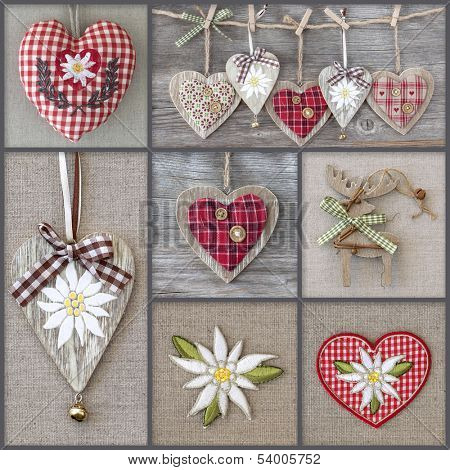 Collage of photos with hearts and edelweiss