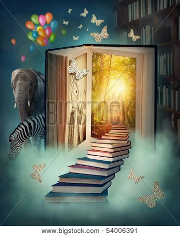 Upstairs to the magic book land