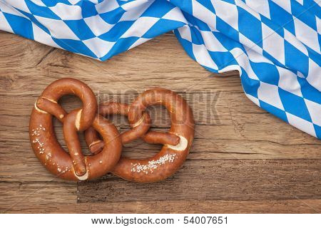 German bretzels on wooden background