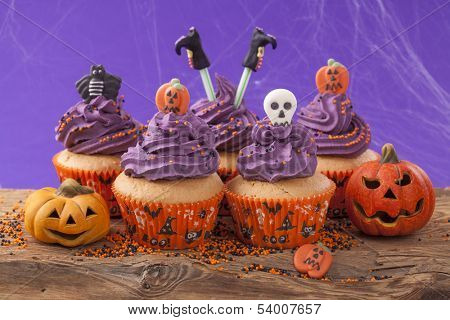 Group of halloween cupcake and decoration