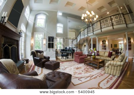 Fish Eye View Large Luxury Living Room