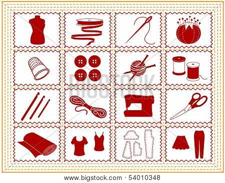 Sewing, Tailoring, Knit, Crochet, Craft Icons