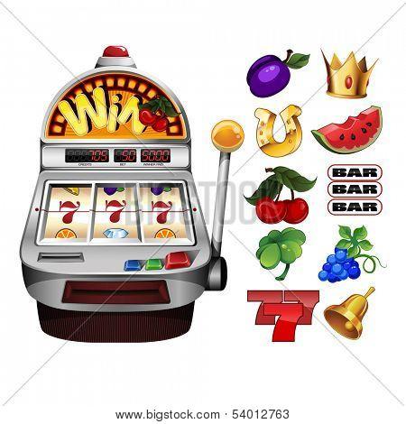 Slot fruit machine with cherry winning on cherries and Various slot fruit machine icons