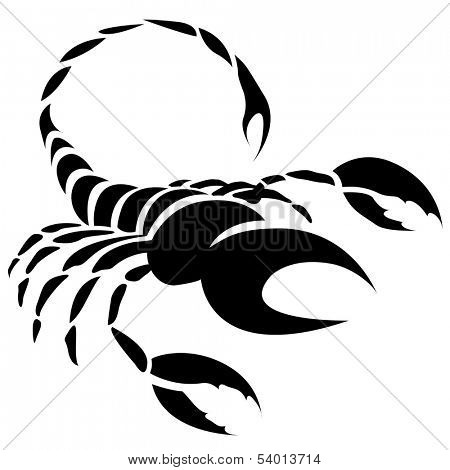 Illustration of Black Scorpio Zodiac Star Sign isolated on a white background