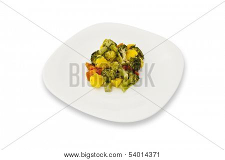 Panache dish on a plate on white background