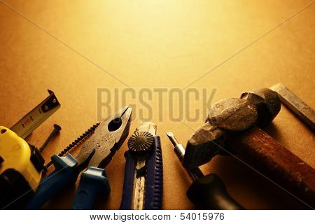 Sepia Toned Image Of A Toolkit
