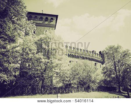 Vintage Sepia Medieval Castle Turin